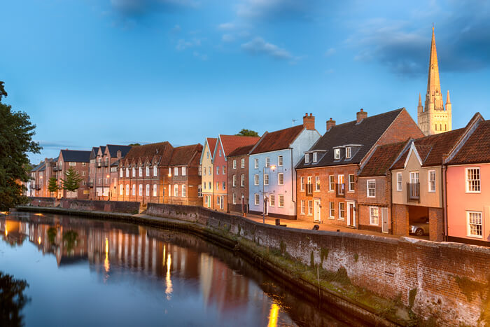 historic town houses night on quay
