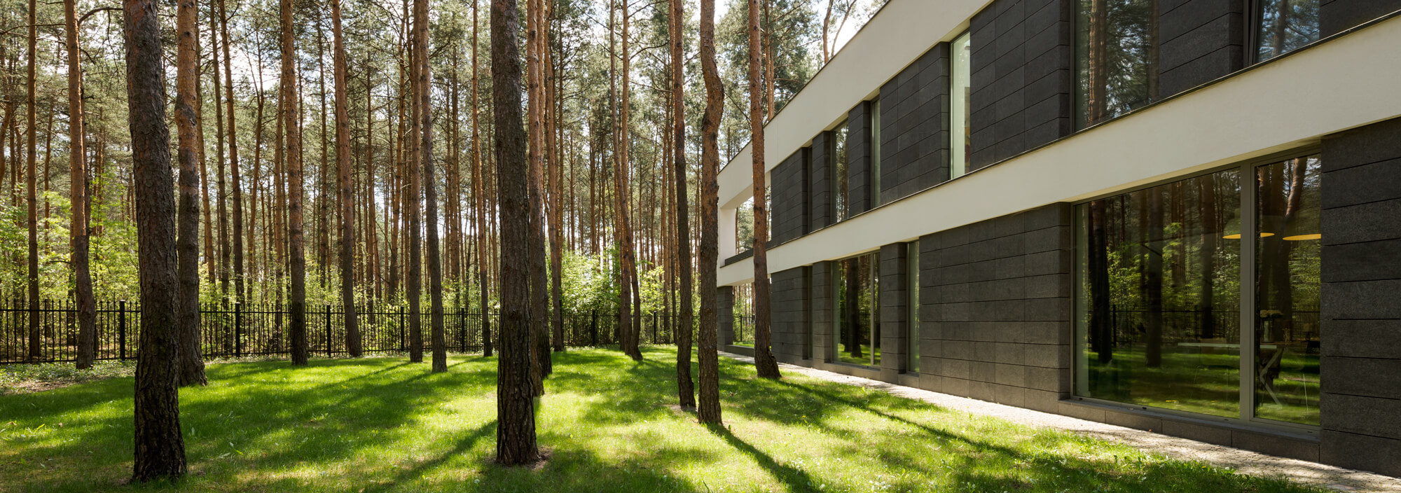 modern rectangular detached house large backyard