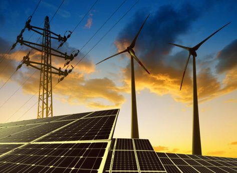 solar panels wind turbines electricity pylon